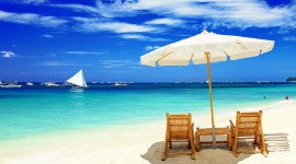 4K Beach Chairs Wallpaper Download