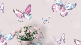 Butterflies Wall Wallpaper Free