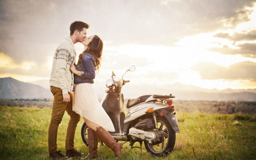 Couple Motorcycle Love Wallpapers High Quality Download Free