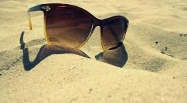 Glasses On Sand Desktop Wallpaper HD