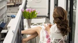 The Balcony Girl Wallpaper For Mobile