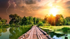 4K Wooden Bridge Wallpaper For PC
