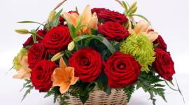 Roses In Basket Photo