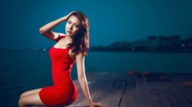 4K Red Dress Wallpaper Free