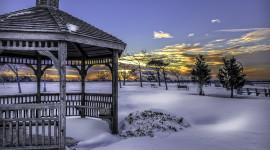 Gazebo Snow Desktop Wallpaper HD
