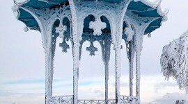 Gazebo Snow Wallpaper For IPhone#1