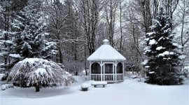 Gazebo Snow Wallpaper Free