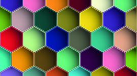 Multicolored Hexagon Wallpaper For PC