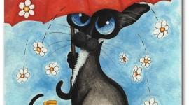 Cat Umbrella Wallpaper For IPhone