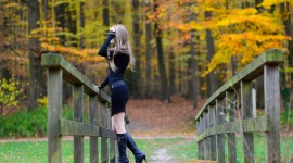 Girl Model Bridge Wallpaper Full HD