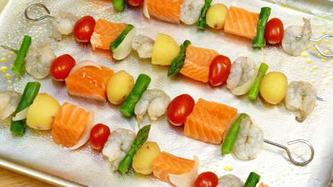 Skewers Of Salmon wallpapers high quality