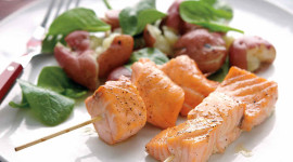 Skewers Of Salmon Wallpaper For Android