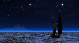 Night Sailboat Lights Desktop Wallpaper