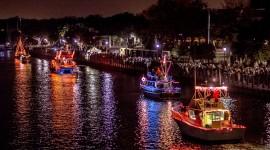 Night Sailboat Lights Photo