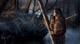4K Girl Fur Model Desktop Wallpaper HD
