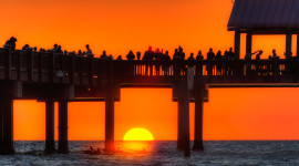 Pier Sunsets Desktop Wallpaper HD